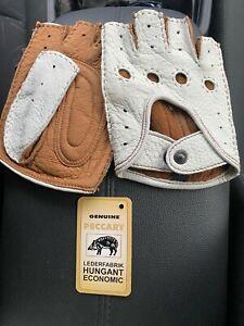 Men's Peccary Fingerless Driving Gloves Handmade size 9 L White Cork