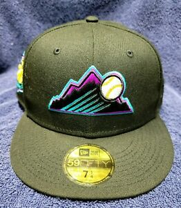 COLORADO ROCKIES 20TH ANNY BLACK GRAPE UV NEW ERA FITTED HAT 7 1/4 5950 59fifty