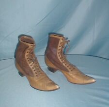 Antique Shoes Victorian 1890's Lace Up Tan Leather and Brown Cloth
