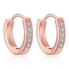 Elegant Women Round CZ Hoop Huggie Hoop Earrings Silver Rose Gold Plated Jewelry