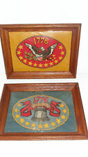 Pair of Vintage, Hand Made Framed Patriotic 1776 Needlepoints, Liberty Bell USA