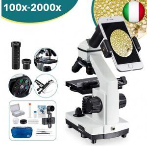 2000x Microscopio Composto con Righello Movibile LED da Laboratorio con Vetrini