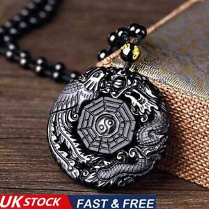 Black Obsidian Carving Wolf Yin Yang Dragon and Phoenix Necklace Pendant