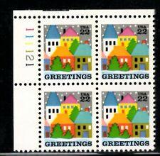 Christmas - Village Scene - Scott #2245 Plate Block of 4 Stamps MNH