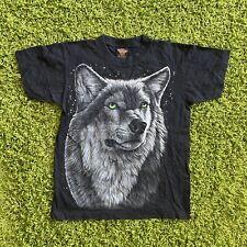 Vintage Big Print Wolf Animal Front and Back Print Shirt  Size M