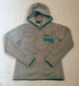 Women's Patagonia Winter Fleece Jacket Gray With Teal Trim Long Sleeve Sz Large