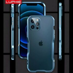 For iPhone 12 Pro Max Luphie Luxury Aluminum Metal Bumper Frame Slim Case Cover