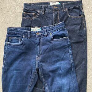 "Next jeans 32 R 2 pairs Slim mid dark indigo blue denim trousers 31"" leg"