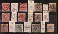 SWEDEN SVERIGE 11 CLASSIC USED STAMPS OF GREAT QUALITY SON CANCEL POSTMARKS