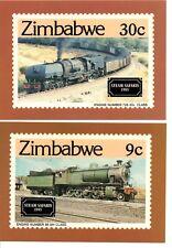 Zimbabwe, Steam Safaris 1985, Set Of 4 Official Postcards & Stamps, First Day