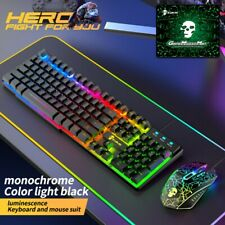 More details for gaming keyboard & mouse set rainbow led usb illuminated for pc laptop ps4 xbox