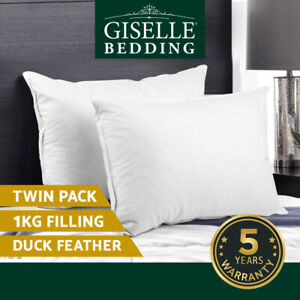 Giselle Bedding Pillow Duck Down Feather Pillows Twin Pack Cotton Cover Hotel