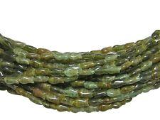 10x5mm Striped Green Czech Glass Flat Fish Beads (22) #B636