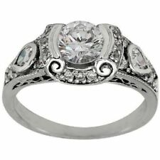 Sterling Silver Art Deco Engagement Ring 1.65Ct White Round Cut Cz Solid 925