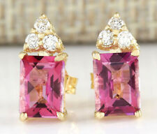 2.65 Carat Natural Tourmaline 14K Yellow Gold Diamond Earrings
