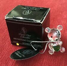 CRYSTAL GUARDIAN TEDDY BEAR & HEART AUGUST BIRTHSTONE ORNAMENT