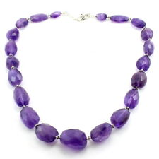 Necklace natural purple amethyst gemstone beaded 925 solid sterling silver 89 gm