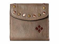 Patricia Nash Washed Denim Grey Reiti Studded Leather Bifold Frame Clutch Wallet