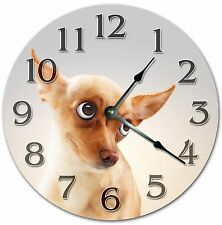 "10.5"" CUTE CHIHUAHUA PUPPY CLOCK - DOG LOVERS - Large 10.5"" Wall Clock - 4023"