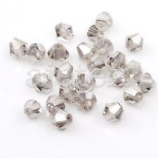 120 Pcs Faceted Crystal Bicone Beads Grey Uncoated 4x4mm Jewelley Making CR0218