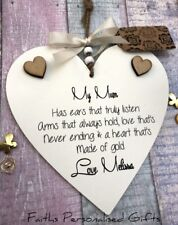 PERSONALISED SHABBY CHIC NAN/MUM/AUNTIE HEART PLAQUE*ANY OCCASION*KEEPSAKE GIFT