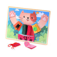Montessori Learn to Dress Boards Early Learning Basic Life Skills Puzzle Toy