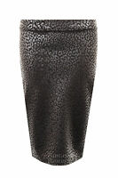 Womens Foil Fitted Leopard Print Bodycon Knee Length Pencil Ladies Skirt  8 - 14