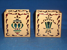2 Partylite Christmas Votive Holder Square Ornament Stained Glass Design