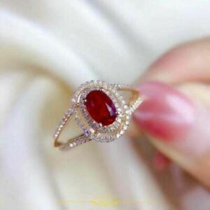 3.2Ct 14K Rose Gold Finish Oval Cut Red Garnet Double Halo Style Engagement Ring