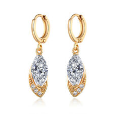 Australian Women 18K Gold Filled Marquise Crystal Zircon Hoop Dangle Earrings