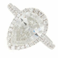 3.53ct Pear Shape Halo Pavé Diamond Engagement Ring Certified