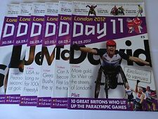 London 2012 Paralympic Games Collection of 6 Official Daily Programmes !