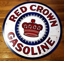 """RED CROWN GASOLINE 28"""" ROUND HEAVY DUTY METAL GAS STATION STYLE ADVERTISING SIGN"""