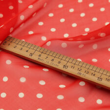 White polka dot on red 100% silk chiffon fabric very soft for scarf dress,SCF142