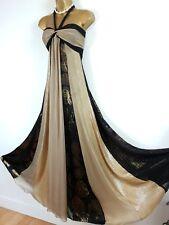MONSOON Black Gold Silk Sequin Shimmer Maxi Gown Evening Dress UK 14