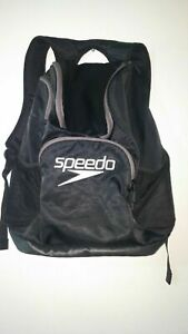 Speedo Black Back Pack Book Bag Large Sports Swim tournament Duffle *