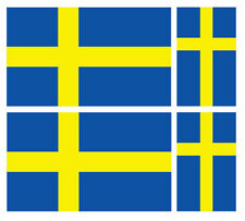 4 X SWEDISH SWEDEN FLAG VINYL CAR VAN IPAD LAPTOP STICKER
