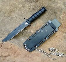 "6"" SURVIVAL Bowie Tactical Fixed Blade HUNTING KNIFE w/ Neck Chain Black SV01"