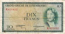BILLET BANQUE LUXEMBOURG LUXEMBURG 10 FRANCS 1954 état voir scan 452