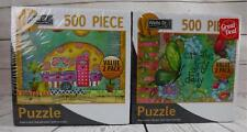 2 Flower Themed 500pc Puzzles Sealed in Box Happy Camper Create Joy Daily Flower