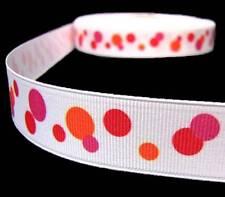 """5 Yards Orange Red Pink Floating Polka Dot Polkadot Grosgrain Ribbon 7/8""""W"""