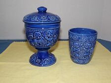 Vtg. Woodpecker Products Ceramic Blue Angel Goblet W/Lid  and Small Cup, Japan