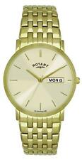 Men's Rotary Gold Plated Strap Round Wristwatches