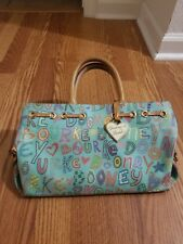 Dooney & Bourke Blue Logo Canvas Leather Tote Purse, gently used