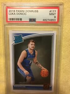 2018 PANINI DONRUSS LUKA DONCIC #177, PSA GRADED MINT 9, ROOKIE CARD