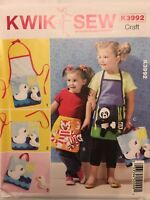 Kwik Sew Pattern K3992 Craft Child Kids Apron Pocket Tote Toy Applique Uncut