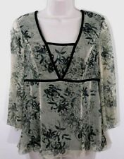 Nine West Blouse 4 Silk Empire Waist Floral Lined 3/4 Sleeves Velvet Trim Lined