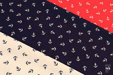 PRINTED POLY COTTON FABRIC ANCHOR NAUTICAL DESIGN