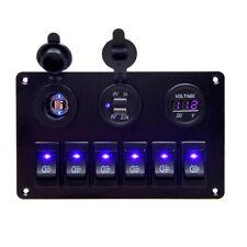 6 Gang Schalter Panel mit 2USB Ladebuchse Steckdose Digitalanzeige-Voltmeter