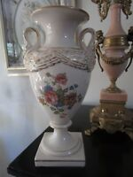 ANTIQUE FRENCH TROPHY VASE/ URN SWAN HANDLES, GOLD AND FLOWERS ;*BAR]
